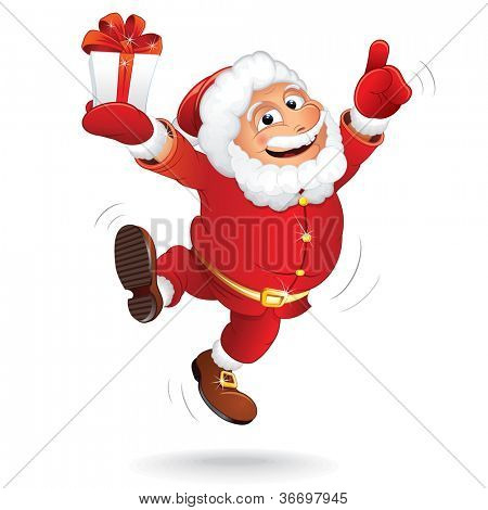 Happiness Santa Claus. Vector Cartoon Illustration