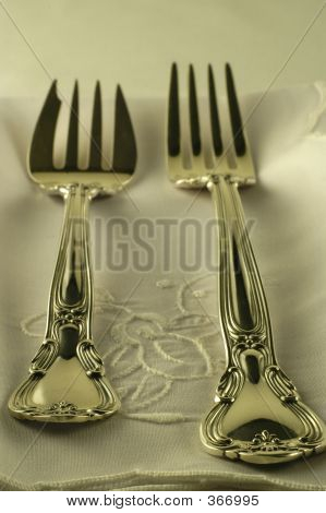 Silver Setting - Forks