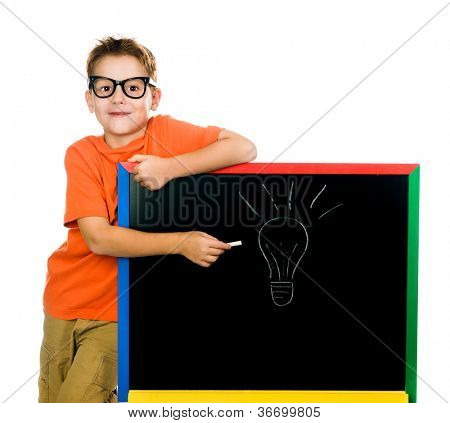 idea. cute boy shows on the board. white background