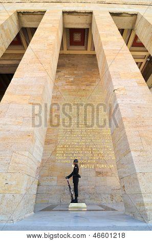 ANKARA, TURKEY-JULY 29:A Turkish Solider in guard duty in mausoleum of Ataturk (Anitkabir) on July,29 2012 in Ankara, Turkey