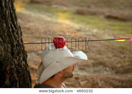 William Tell Metaphor, Apple And Arrow In Forest