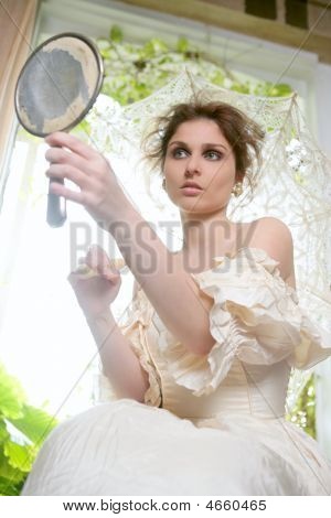 Victorian Beautiful Woman, White Dress At Home