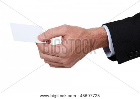 male hand giving visit card