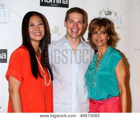 LOS ANGELES - JUN 9:  Jina Park, Jason Kennedy, Lisa Rinna arrives at the 2013 Plush Show at the Hyatt Regency Century Plaza Hotel on June 9, 2013 in Century City, CA