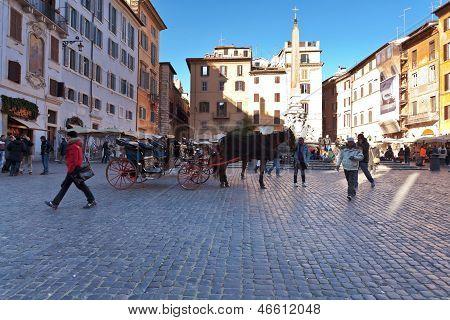 Piazza Della Rotonda In Rome, Italy