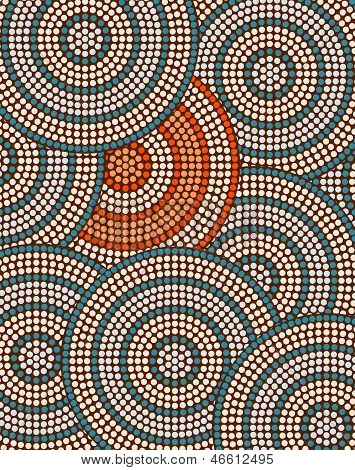 A Illustration Based On Aboriginal Style Of Dot Painting Depicting Circle Background
