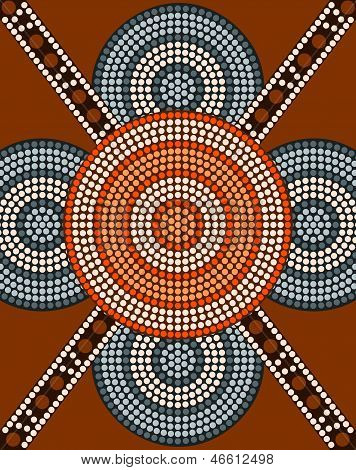 A Illustration Based On Aboriginal Style Of Dot Painting Depicting Circle Background 2