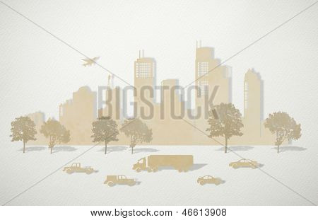 Paper cut of cities with tree , car and plane on art paper
