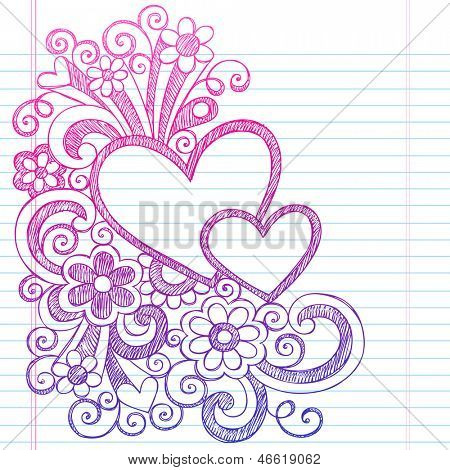 Love Hearts Frame Border Valentine's Day Back to School Sketchy Notebook Doodles- Illustration Design on Lined Sketchbook Paper Background