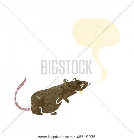 retro cartoon rat with speech bubble