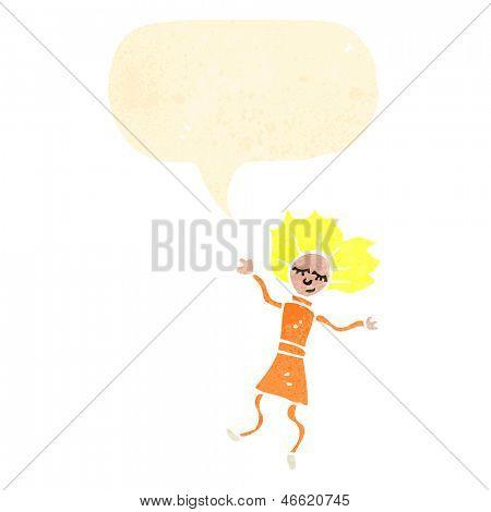mujer de muñeca de trapo con el bocadillo de diálogo