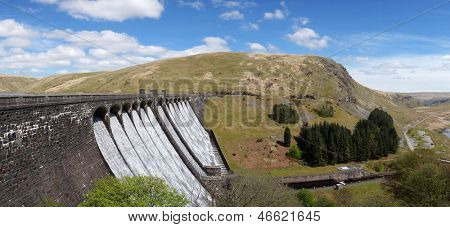 The Claerwen reservoir dam panorama, Elan Valley Wales UK.
