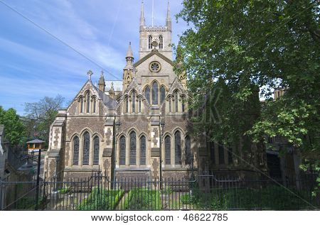 Southwark Cathedral or The Cathedral and Collegiate Church of St Saviour and St Mary Overie, Southwark, London, lies on the south bank of the River Thames close to London Bridge