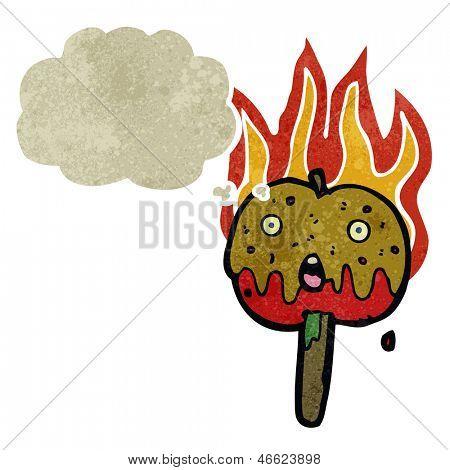 retro cartoon flaming hot toffee apple