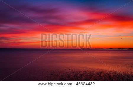 Long Exposure On The Atlantic Ocean At Sunset, Cape May, New Jersey.