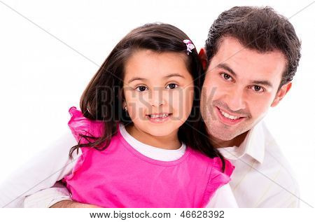Happy father and daughter - isolated over a white background