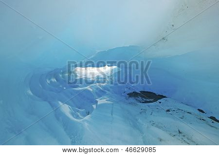 Blue Ice In A Glacial Ice Cave