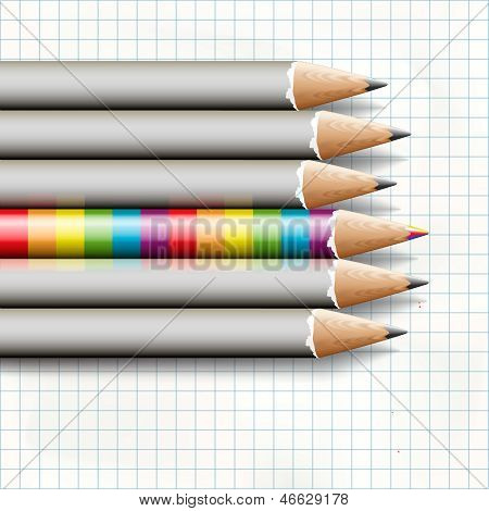 To be different, rainbow pencil near the simple