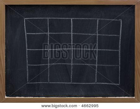 Blank Table On Blackboard