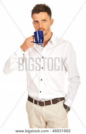 Business Man Drinking Coffee