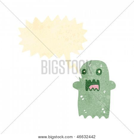 retro cartoon spooky shrieking ghost
