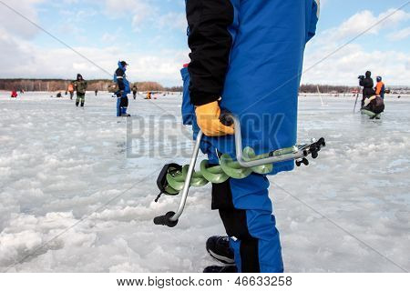 KHARKIV REGION UKRAINE - FEBRUARY 6: Eighth World Ice Fishing Championship on February 5-6 2011
