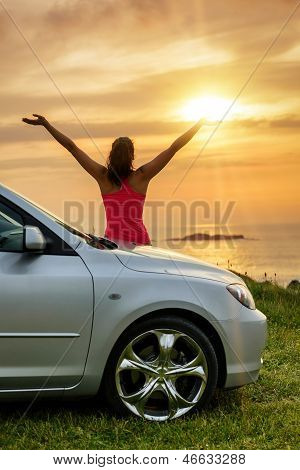 Car Traveler Looking Summer Sunset