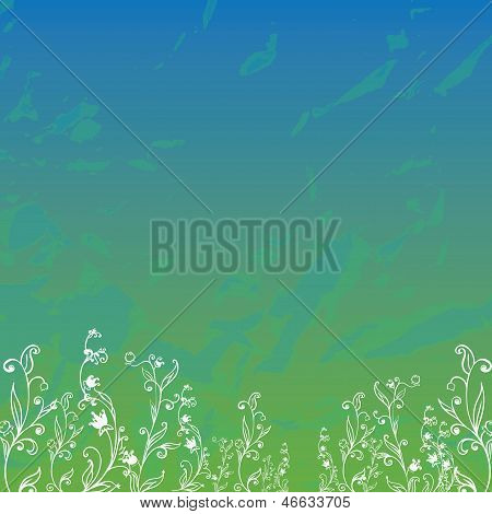 Field With Grass And Flowers