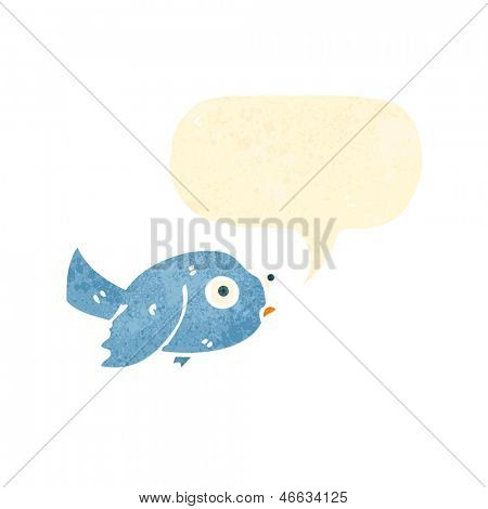 retro cartoon bluebird