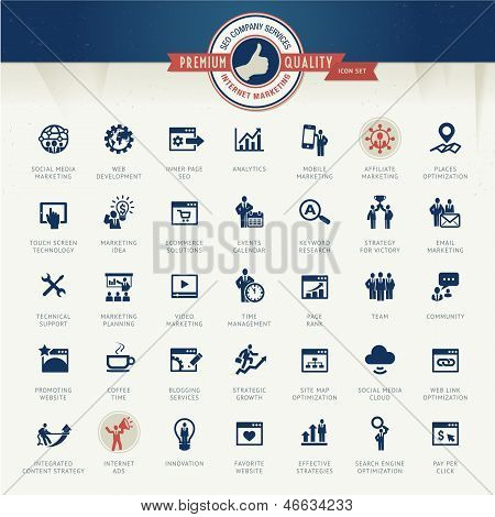 Set of business icons for internet marketing and services poster
