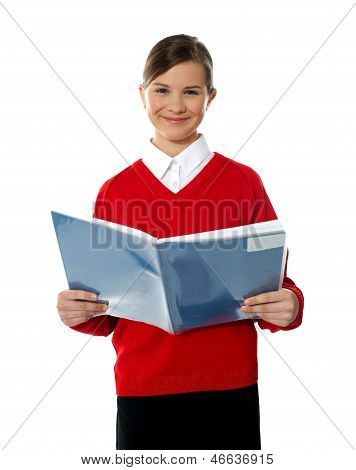 Charming School Kid Reading Book
