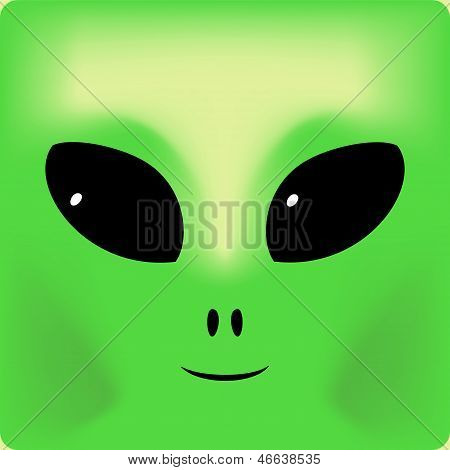 Cute green smiling alien face background, vector illustration