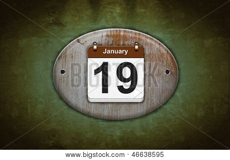 Old Wooden Calendar With January 19.