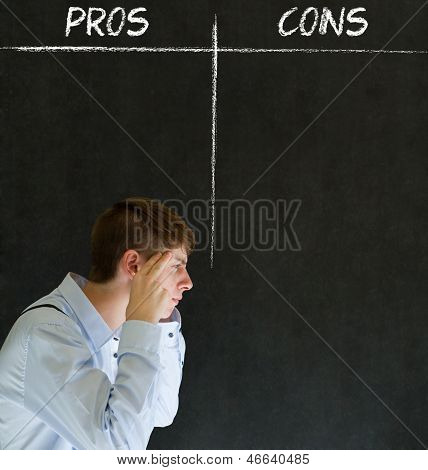 Businessman, Student Or Teacher Pros And Cons Decision List