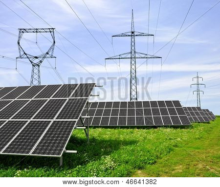 Solar energy panels with power line