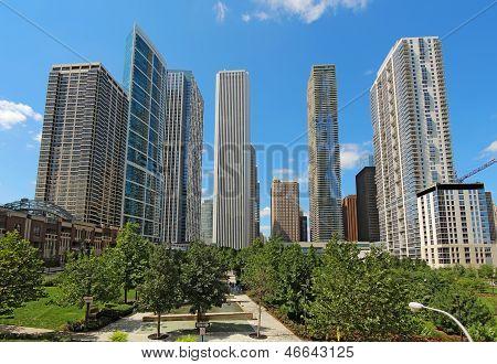 Rascacielos en el centro de Chicago, Illinois