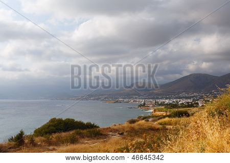 Panorama Of Hersonissos Town, Crete, Greece