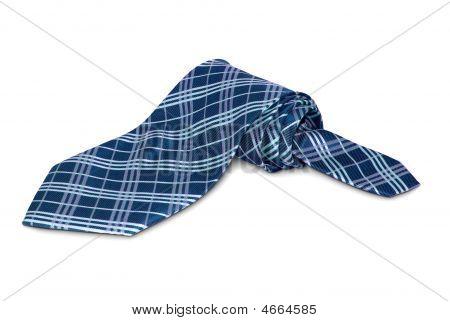 One Accurately Braided Tie Of Dark Blue Tones