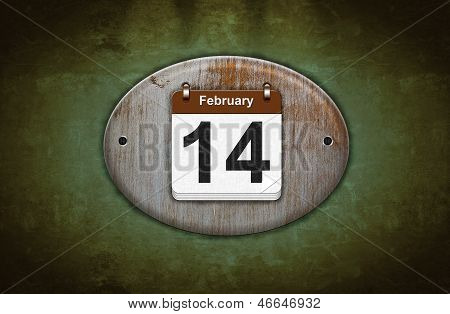 Old Wooden Calendar With February 14.