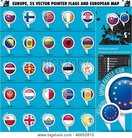 European Icons Round Indicator Flags and Map Set2