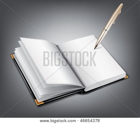 Open notebook with a pen. Rasterized illustration. Vector version in my portfolio
