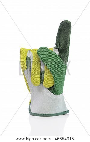 Working glove with pointer up on a white background