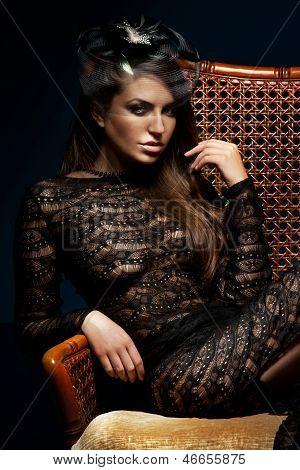 Elegant Brunette Lady Posing, Looking At Camera.