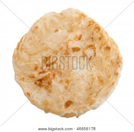 Roti Canai is famous Malaysian food, full length isolated on white background. Malaysia cuisine.