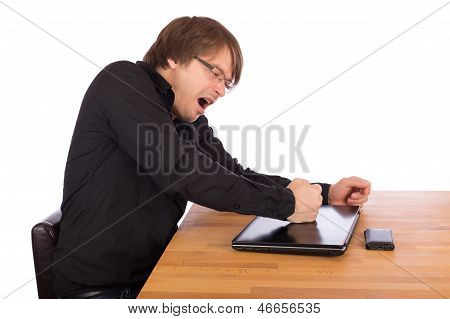 Angry Man Knock With His Fist On His Laptop