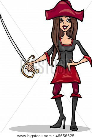 Woman Pirate Cartoon Illustration