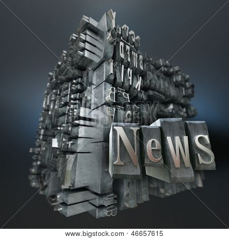 Block of metallic printing letters and the word news