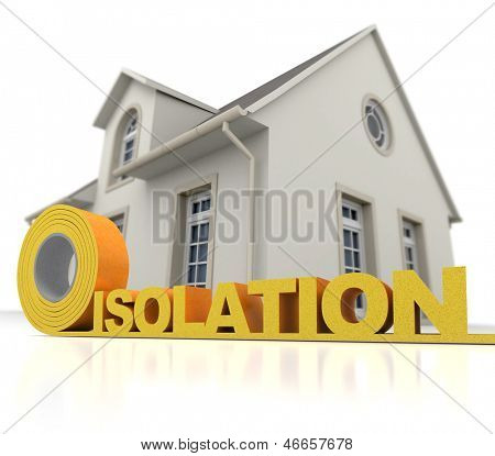 3D rendering of a house with the  word isolation (French) written in  insulation tape