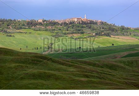 Skyline Of Pienza With Clouded Sky, Val D'orcia, Tuscany, Italy