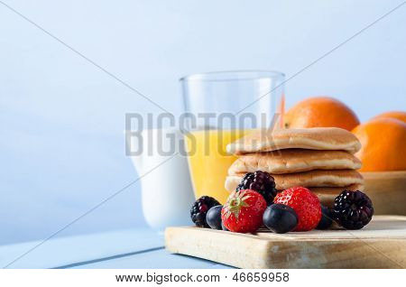 Fruit And Pancakes Breakfast Table